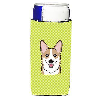 Checkerboard Lime Green Corgi Ultra Beverage Insulators for slim cans