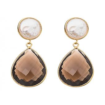 Gemshine - ladies - earrings - 925 Silver gold-plated - beads - smoky Quartz - White - Brown - 4 cm