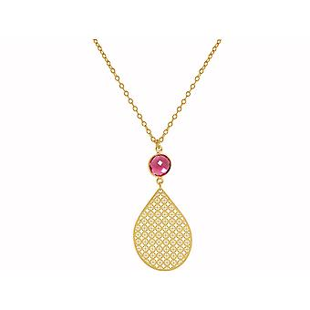 GEMSHINE ladies necklace with mandala and Ruby Quartz. Rose gold 45 cm necklace or pendant made of silver, gold plated. Made in Madrid, Spain. Delivered in an elegant gift case.