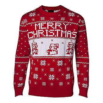 Super Mario Bros stickad Pixel god jul tröja Jumper - röd XXL storlek
