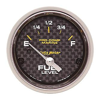 AutoMeter 200760-40 Marine Electric Fuel Level Gauge 2-1/16 in. Carbon Fiber Dial Face Silver Pointer White Incandescent