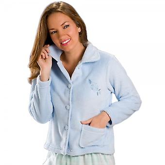Camille  Womens Blue Soft Warm Fleece Bed Jacket