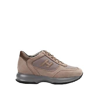 Hogan men's HXM00N0I9809AG351E brown leather of sneakers