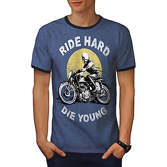 Ride Hard Die Young Biker Men Heather Blue / NavyRinger T-shirt | Wellcoda