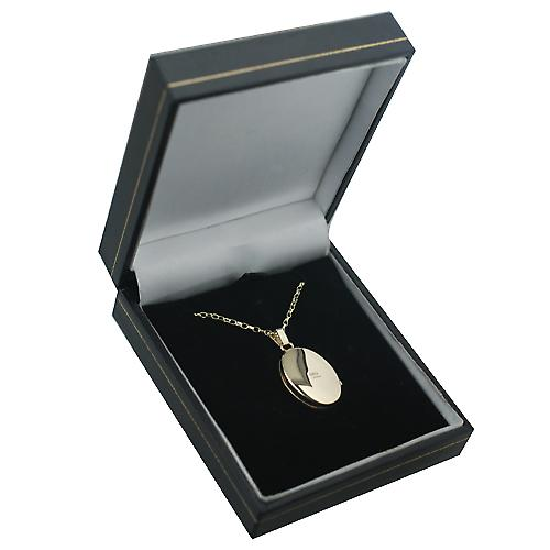 9ct Gold 22x15mm oval hand engraved Miraculous medal Locket with an Oval Link Belcher chain