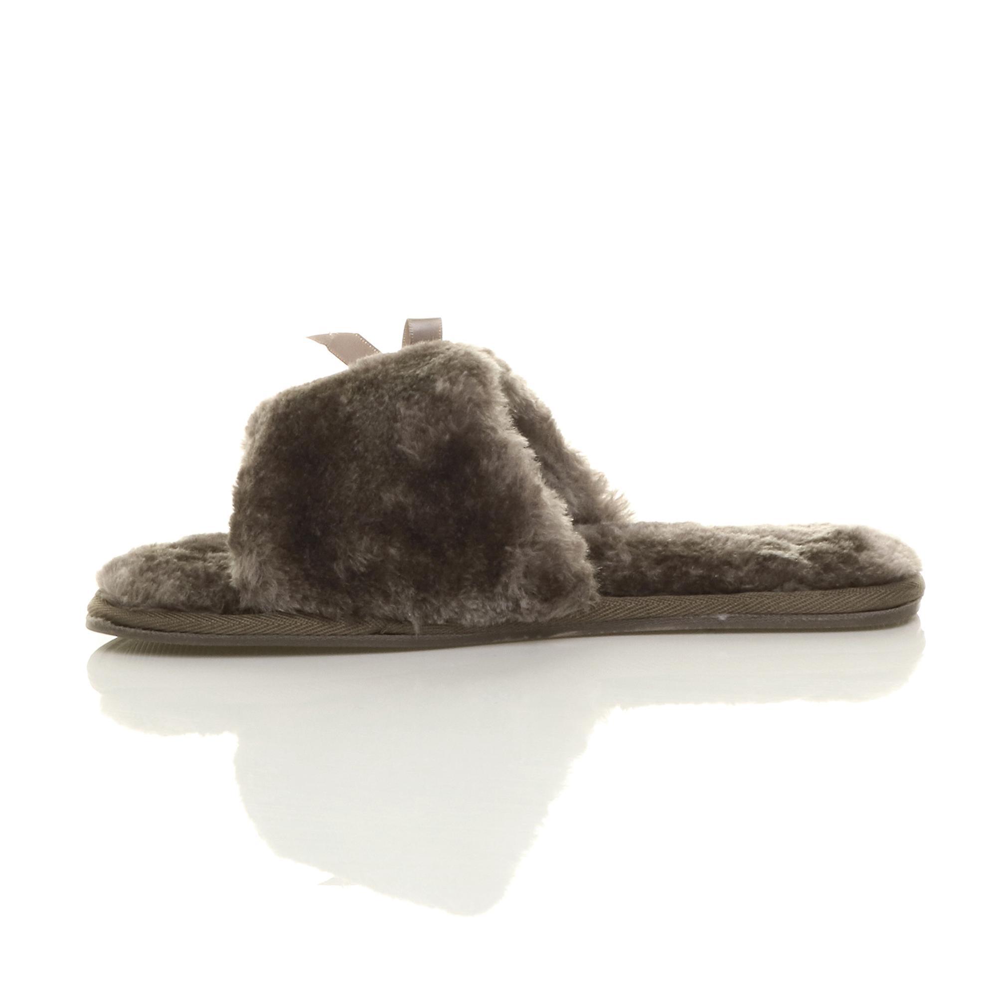 slip cosy bow fur faux toe slippers on peep luxury womens Ajvani sheepskin flat xqTwUSTgH