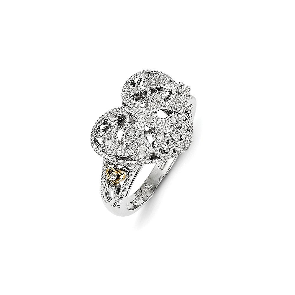 Sterling argent Texturouge Polished Prong set With 14k 1 20ct Diamond Vintage Ring - Ring Taille  6 to 8