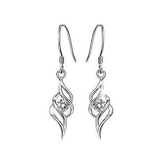 Womens Silver bröllop Bridal smycken droppe örhängen