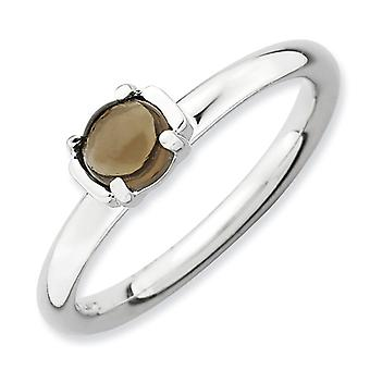 2.5mm Sterling Silver Prong set Rhodium-plated Stackable Expressions Polished Smokey Quartz Ring - Ring Size: 5 to 10
