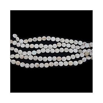 Strand 28 + biały magnezytu 12mm płaskie monet koraliki CB49437-2