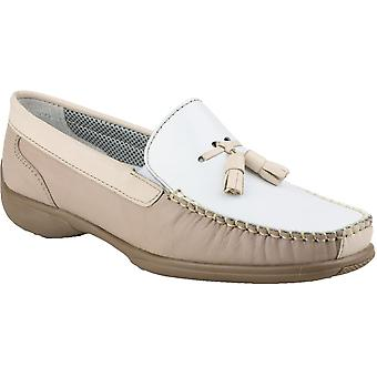 Cotswold Ladies Biddlestone Slip On Leather Moccasin Shoe Brown