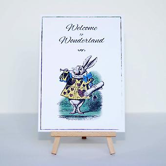 Alice In Wonderland Welcome to Wonderland Card and Easel Sign Party