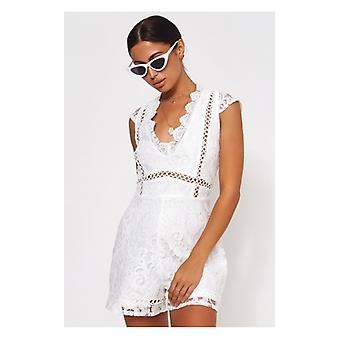 The Fashion Bible Pixie White Lace Playsuit