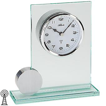 Atlanta 3094 style clock table clock radio analog silver with glass