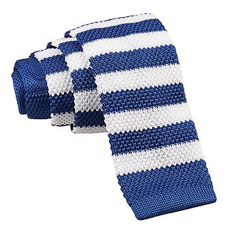 Royal Blue & White Striped Knitted Skinny Tie