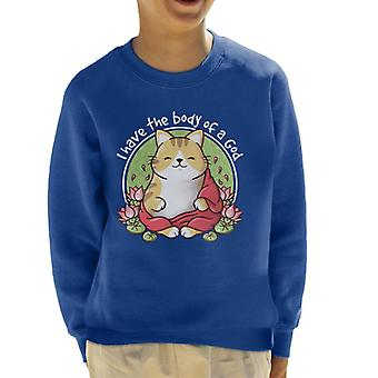 Cat Body Of A God Buddah Kid's Sweatshirt