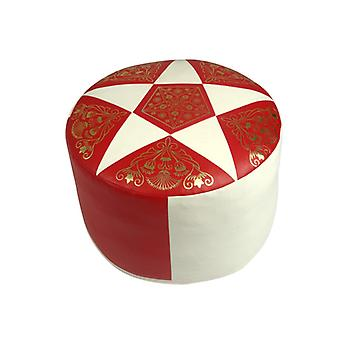 Seat cushion Pouffe Oriental pillow around faux leather red/champagne, width 50 cm, height 34 cm