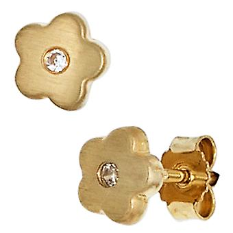 Children earrings flower 333 Gold Yellow Gold 2 cubic zirconia girl earrings, children's jewellery