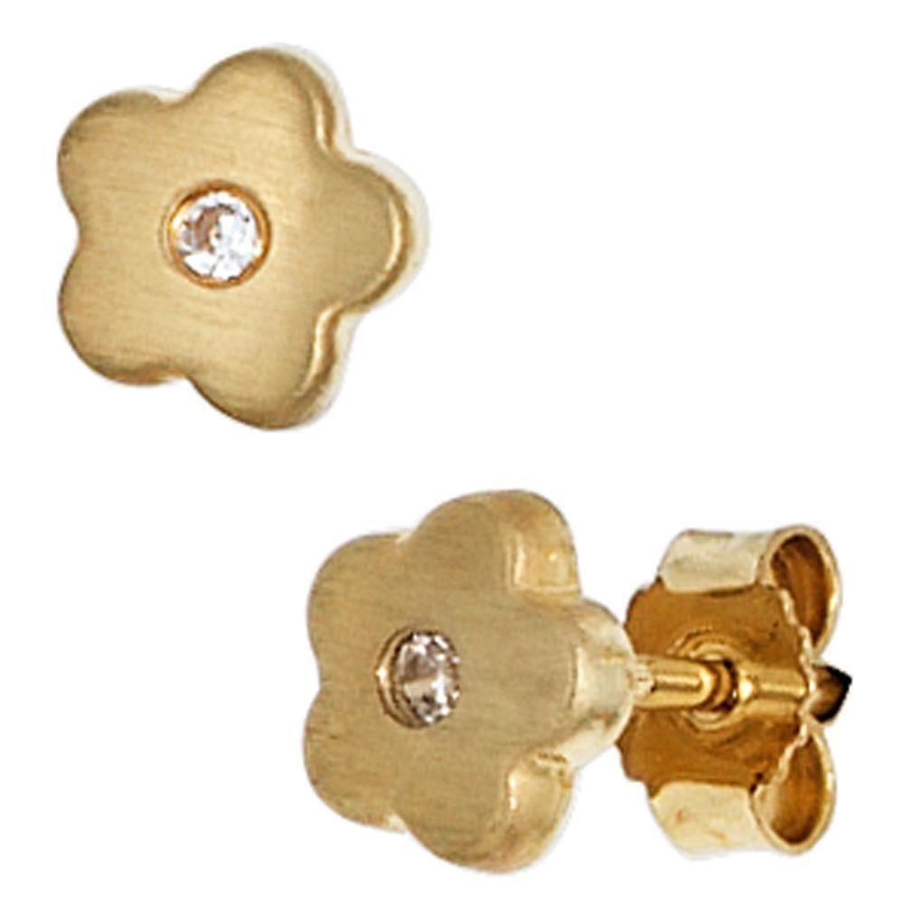 Children earrings flower 333 Gold Yellow Gold 2 cubic zirconia girl earrings, children's jewellery