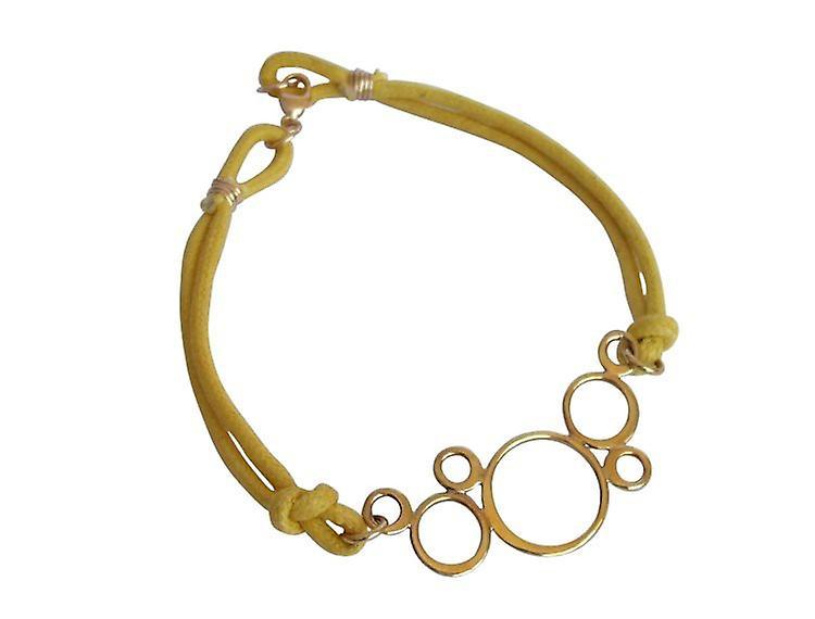 Armband mit Kreisen gelb Bronze Armreifen vergoldet