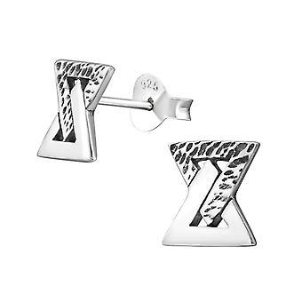 Geometric - 925 Sterling Silver Plain Ear Studs - W29375x