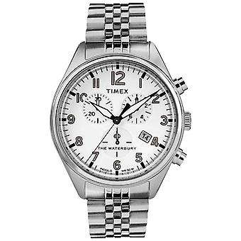 Timex Mens Waterbury traditionella vita Chrono stål armband TW2R88500 klocka