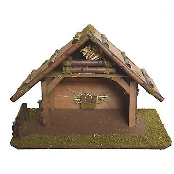 Christmas Nativity scene wood Nativity stable SIMEON without figures 45 x 25 x 30 cm hand work