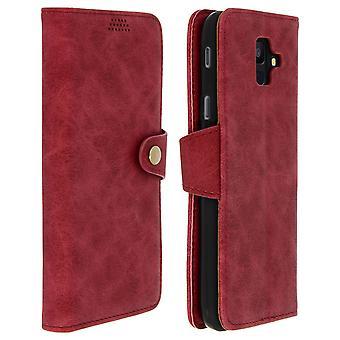 Retrò flip portafoglio, standing custodia per Samsung Galaxy A6 - profondo rosso