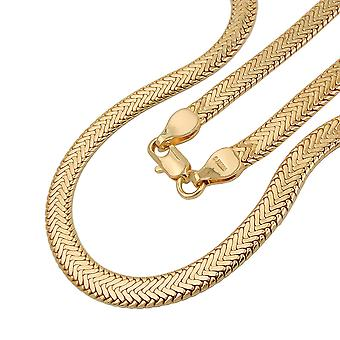 Fantasy chain necklace snake flat pressed 5 mm gold plated AMD 50 cm