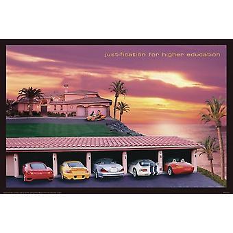 Justification de l'enseignement supérieur affiche voitures et coucher de soleil (QF)