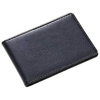 David Van Hagen Leather Folding Business Card Holder - Black