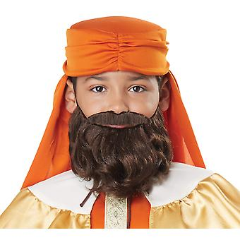 Gaspar The Wise Man Three King Christmas Boys Costume Brown Moustache & Beard