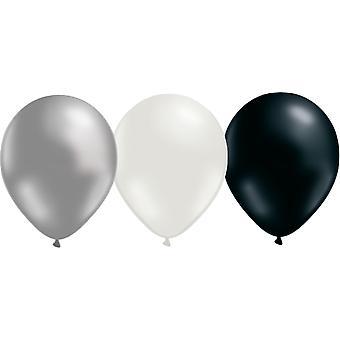 Ballonnen mix-3 kleuren-zilver, wit en zwart