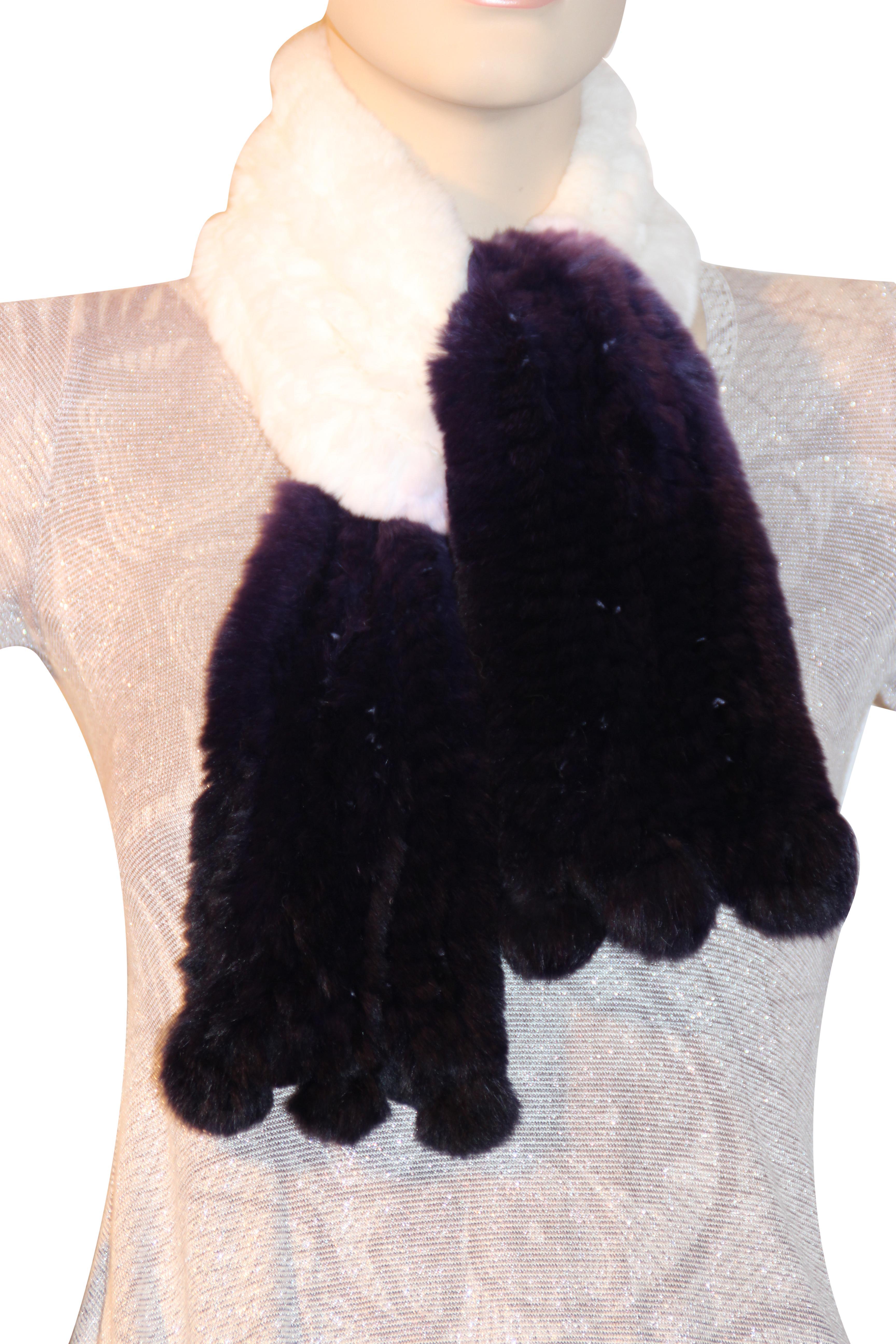 Waooh - moda - bufanda de piel de conejo rex de punto con borla 'Félicie'