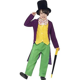 Roald Dahl Willy Wonka Costume, grün & gelb mit Top, Hose, Fliege, Mütze & Zuckerrohr