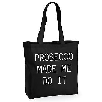 プロセッコ メイド私にくださいブラック コットン ショッピング バッグ