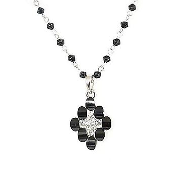 Toc Black and White Cross Pendant on an Extendable 16/18 Inch Chain
