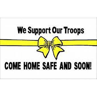 Support Our Troops White Flag 5ft x 3ft (100% Polyester) With Eyelets