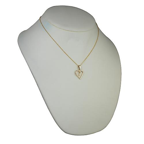 9ct Gold 18x18mm initial G in a heart Pendant with a cable Chain 18 inches