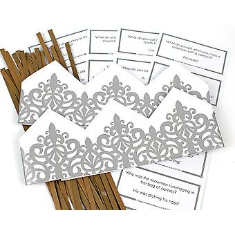 Silver Filigree Adjustable Paper Hats, Snaps & Christmas Jokes for Cracker Making Crafts - 10 or 25 Pack