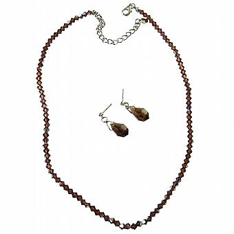 AB Smoked Topaz Crystals w/ TearDrop Earrings Wedding Party Jewelry