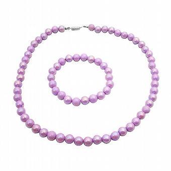 Girls Jewelry Gift Purple Round Beads Necklace Bracelet Christmas Gift