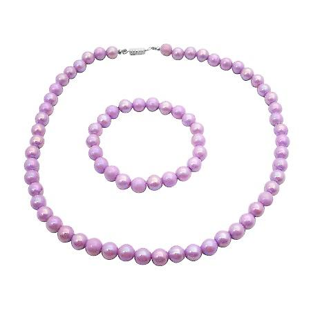 Girls Jewelry Gift Purple Round Beads Necklace Bracelet Christmas Gift