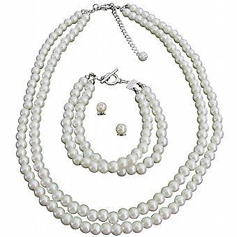 Elfenben perler fantastiske gave komplett smykker kjede sett