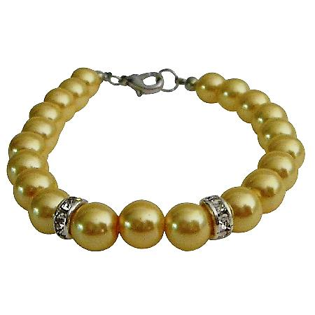 Young Girls Birthday Bridesmaid Wedding Cool Yellow Pearls Bracelet