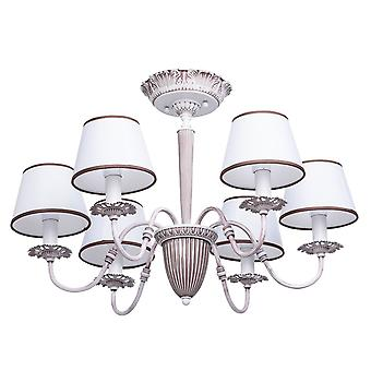 Glasberg - White And Coffee Coloured Six Light Semi-Flush Fitting With Fabric Shades 419011006