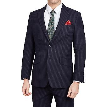 Dobell Mens Navy Suit Jacket Tailored Fit Notch Lapel Chalk Stripe