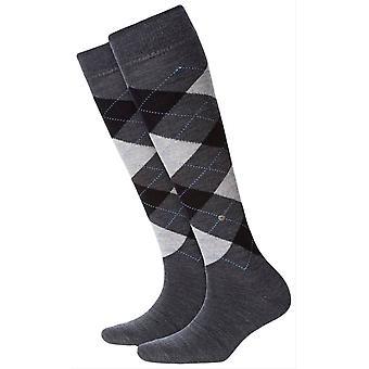 Burlington Marylebone Knee High Socks - Anthracite/Black