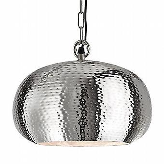 Martelé brillant pendentif métal Ellipse battu Nickel - 32cm