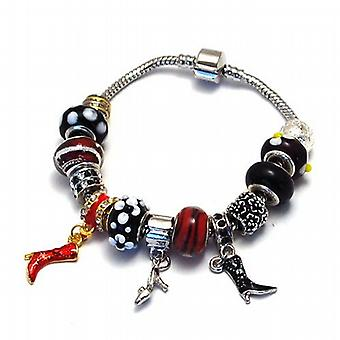 Toc Beadz 'Too Many Shoes' Red and Black Bead Bracelet